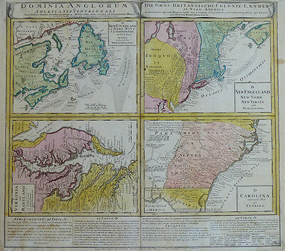 Dominia Anglorum Britische Kolonien New York Florida Virginia Homann 1745