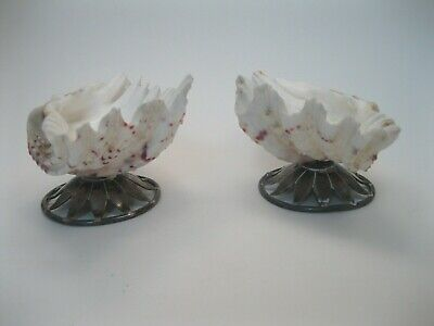 Pair of English Victorian 1861 Sterling Silver & Shell Dishes signed