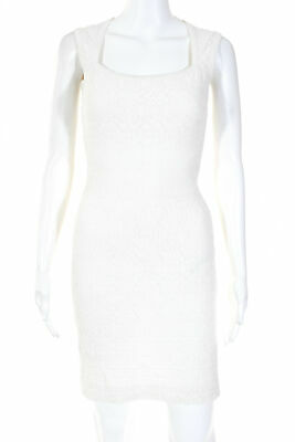 ab8d83970af Alaia Womens Scoop Neck Sleeveless Textured Knit Dress White European Size  38