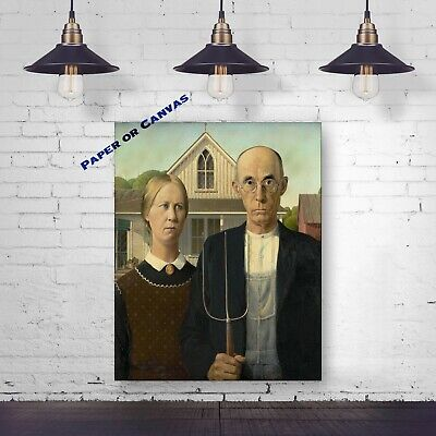 American Gothic by Grant Wood Reproduction Art Print - Giclee Canvas Print
