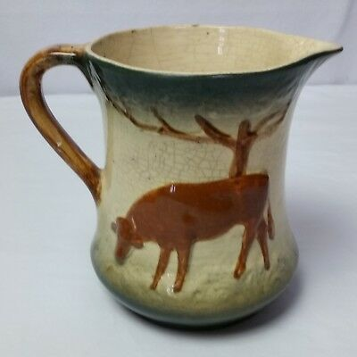Antique Roseville Pottery Utility Water Milk Pitcher Double Sided Cow