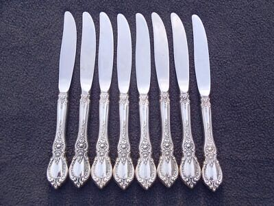 """SET of 8 Towle CHARLEMAGNE Sterling 9"""" DINNER KNIVES Stainless Blades No Mono NR"""