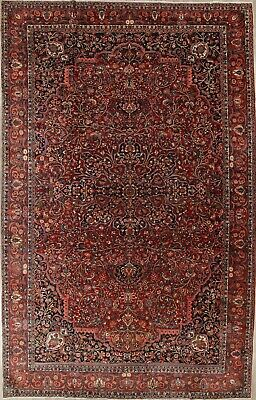 PRE-1900 VEGETABLE DYE BIG ANTIQUE PERSIAN RUG BAKHTIARI GEOMETRIC LARGE 11x18