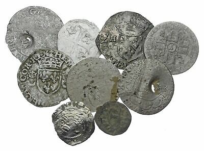 FRANCE. Lot of 9 Billon medieval coins, several countermarked, one Dauphine