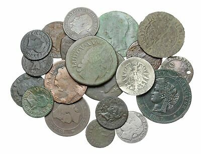 Lot of 20 old coins, Mostly France, a few silver, 1700-1800's