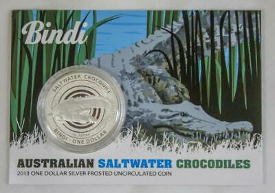 2013 Australian UNC 1oz Fine Silver Saltwater Crocodile - Bindi on Card of Issue