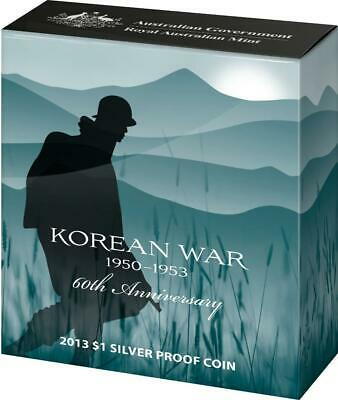 2013 Australian Fine Silver Korean War 60th Anniversary One Dollar Proof Coin