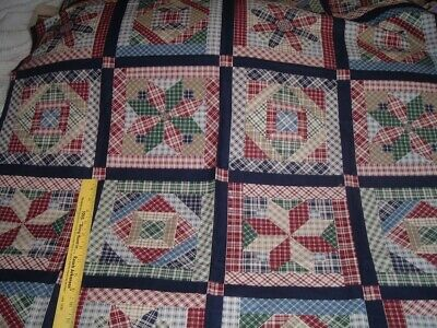 Vtg 80s Joan Messmore Country Plaid Quilt Wallhanging Fabric Panel 36x43 #pb6