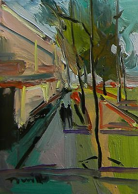 Jose Trujillo - Oil Painting Impressionist Modern Abstract Street 9X12 Canvas