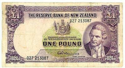 Old New Zealand Predecimal One Pound Banknote - 027 213087