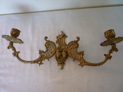Antique French Double Candlestick Holder Wall Sconce Piano Twin Arm Rd  275383