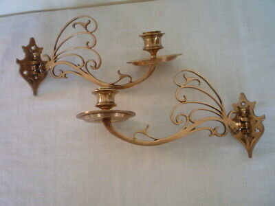 * 2 Decorative Brass Candle Candlestick Holders Wall Sconce Piano Reclaim Pair *