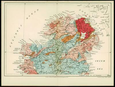 1904 Original Antique Colour Map GEOLOGICAL MAP OF NORTHERN IRELAND (7)