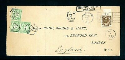Canada 1922  Postage Due Cover to England (3 x 1/2d Postage Dues)  (A842)