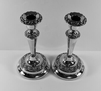 A Contemporary Pair Of Silver Plated Candlesticks By Ianthe VGC