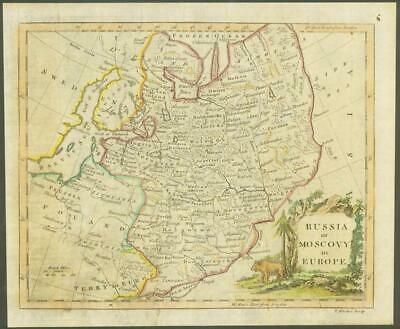 "1770 Original Antique Map ""RUSSIA MOSCOVY IN EUROPE"" by T KITCHIN Hand coloured"