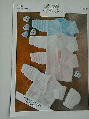 Baby   Cardigans  4 ply  Knitting  Pattern sizes   14 -  22 inch chest