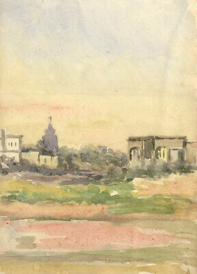Early 20th Century Watercolour - Distant Town