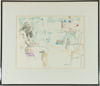 Peter Collins ARCA - Signed and Framed 1978 Pastel, Nude in Studio