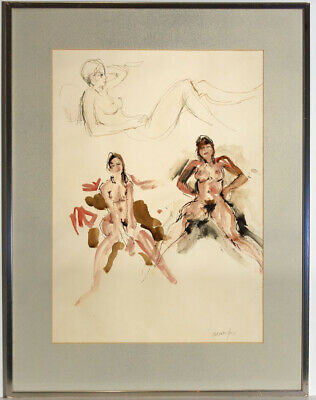 Peter Collins ARCA - Signed and Framed 1970 Watercolour, Female Nude Studies