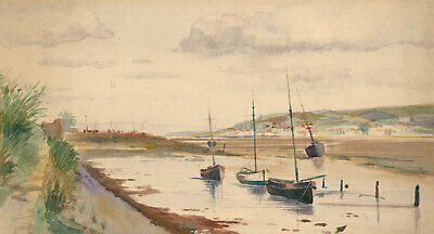English School  Early 20th Century Watercolour - Boats in an Estuary