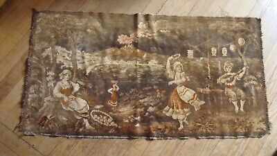 Vintage Flemish or French Tapestry Peasant Dancing People Village 20 x 40