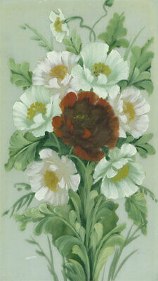 English School Early 20th Century Gouache - Floral Painting on Glass
