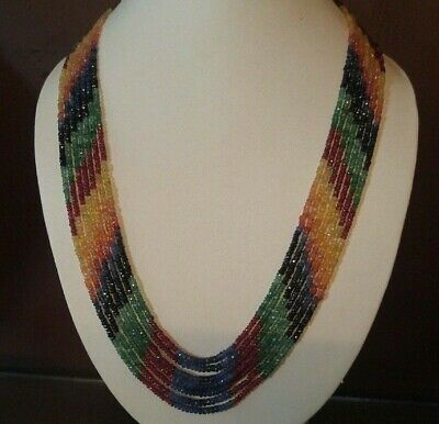 Natural Precious Multi Sapphire, Ruby,Emerald Faceted Gemstone 7 Strand Necklace