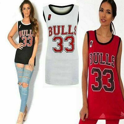 8ea71adf966 Ladies BULLS 33 Varsity American Basketball Jersey Sports Vest T-Shirts Top
