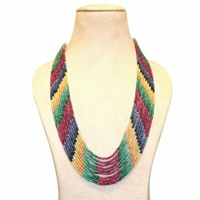 Natural Precious Multi Sapphire, Ruby,Emerald Faceted Gemstone 9 Strand Necklace