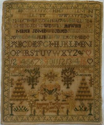 Early 19Th Century Scottish Motif & Alphabet Sampler By Janet Dunn Aged 7 - 1832