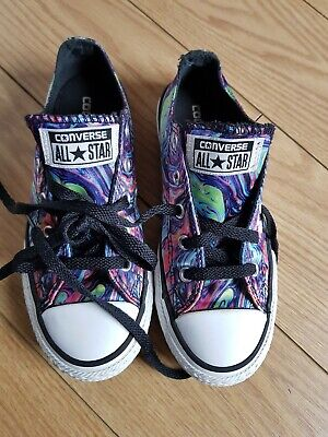 Girls Phsycodelic Low Top All Star Converse Trainers Size Uk 13.5