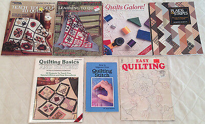 LOT 7 QUILT BOOKS Plaids Stripes,Quilts Galore,Learning to Quilt, Teach Yourself