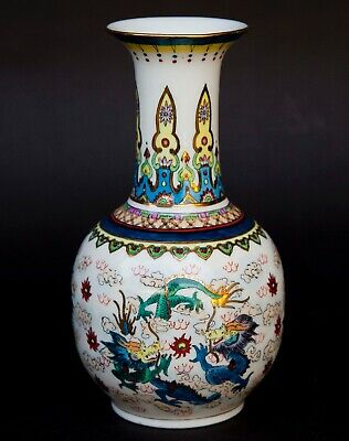 """Chinese Hand Painted Vase With Scenery Of Dragons 8"""""""