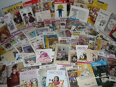 New & Vintage Stuffed Dolls, Toys, Decorative Crafts Sewing Patterns, 82 U-Pick
