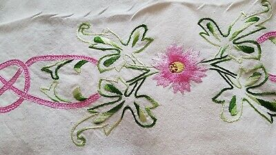 Very Large Vintage Hemstitched Hand Embroidered Linen Tablecloth + 8 Napkins