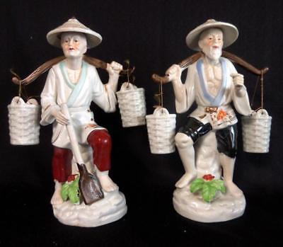 "Vintage Asian Porcelain Statues of Man & Woman Couple Carrying Baskets 13"" H"