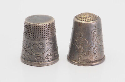 Two antique ornate 84 silver sewing thimbles Russia