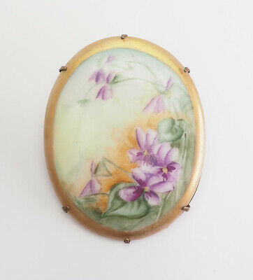 Antique Victorian hand painted ceramic flower floral  large oval pin
