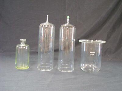 Lot of 4 Vintage Laboratory Glass Chemistry Pieces - 1 marked Kimax