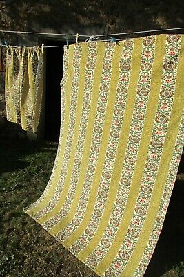 Beautiful Vintage French Barkcloth floral and gold woven curtain panels c1950s