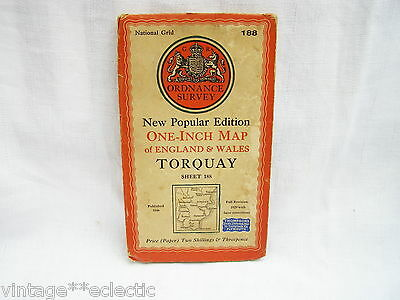 ORDNANCE SURVEY MAP on PAPER of TORQUAY ~ OS SHEET 188 ~ REVISED 1946