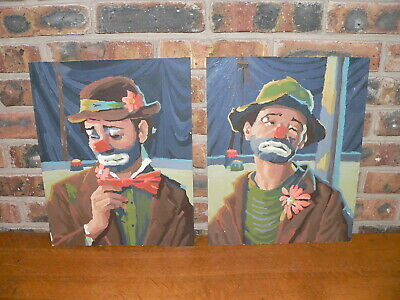 """Vintage Pair of 16"""" x 12"""" Finished Paint-By-Number Clown Pictures"""