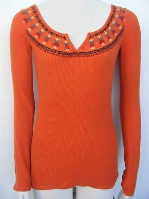 Lucky Brand Thermal Top XS S Paper Dolls Folk Art Split Neck Waffle Weave Shirt
