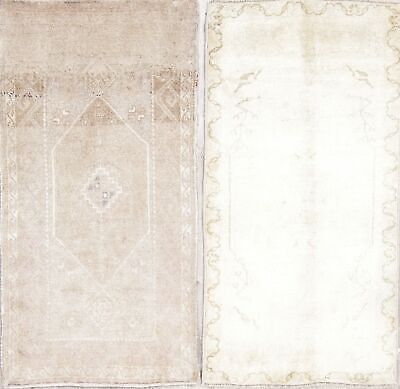 Pack Of 2 Antique-Wash Muted Oushak Turkish Hand Knotted 2x3 Distressed Wool Rug