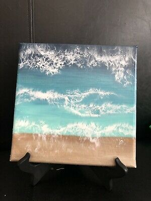"""8""""x8"""" Seascape. Acrylic And Resin Coated Painting On Canvas."""