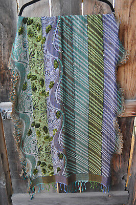 Anu By Natural Art To Wear Hand Embroidered Beaded Pashmina Wool Scarf Shawl,os