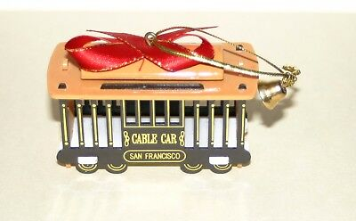 SAN FRANCISCO SOUVENIR CABLE CAR CHRISTMAS ORNAMENT~Plastic with Metal Bell