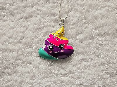 EMOJI MOVIE Inspired Large Charm NECKLACE + Rhinestones RAINBOW POOP