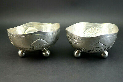 c1890, FINE PAIR ANTIQUE 19thC ANGLO INDIAN CALCUTTA SOLID SILVER OPEN SALTS